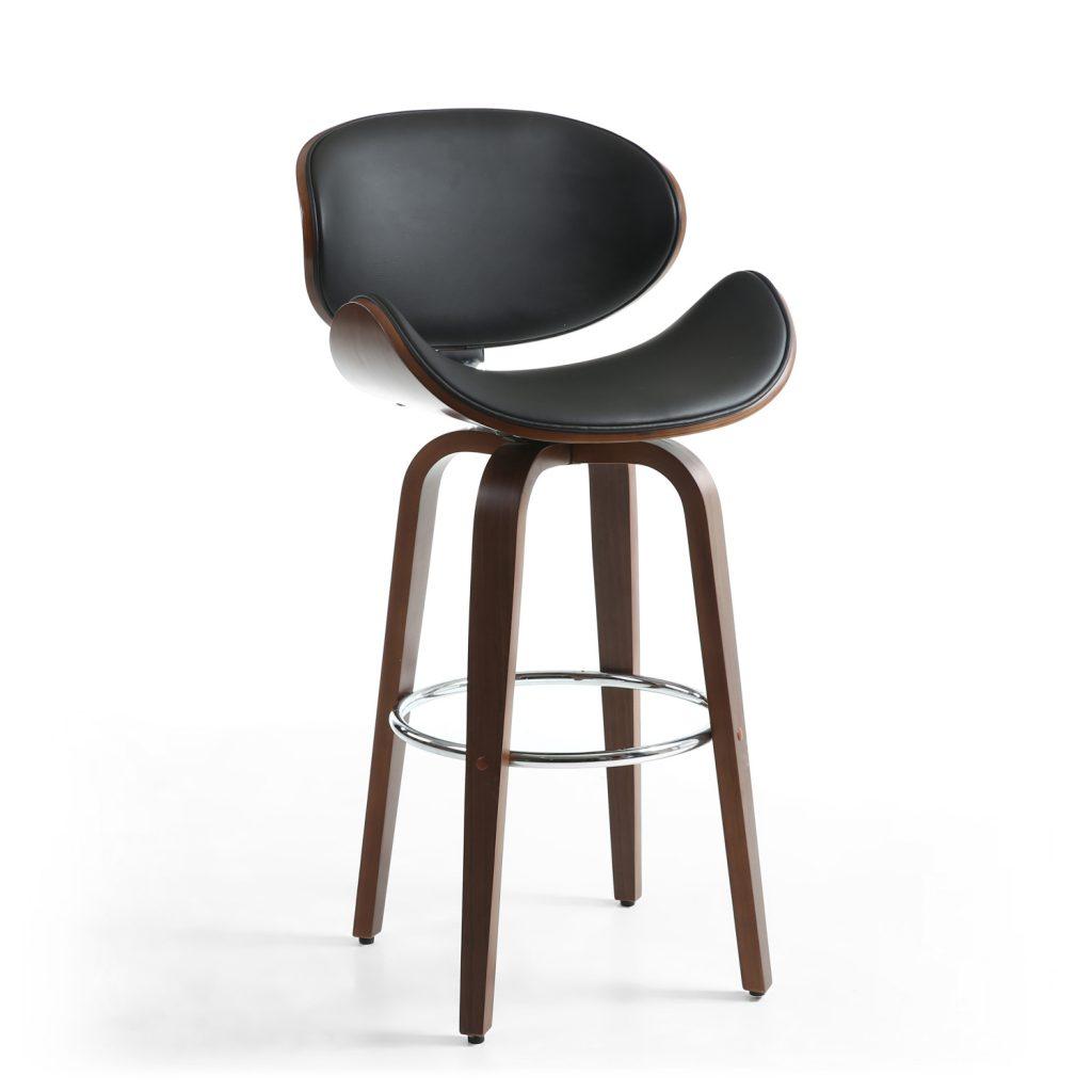 Bachelor Walnut Leather Effect Black Bar Chair 1