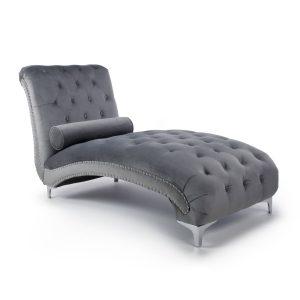 Dorchester Brushed Velvet Grey Chaise 1