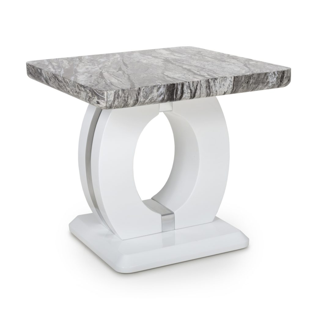 Neptune Marble Effect Top High Gloss GreyWhite Lamp Table 1