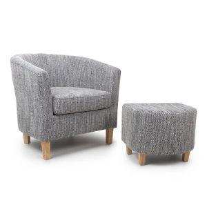 Tub Tweed Grey Chair & Stool Set 1