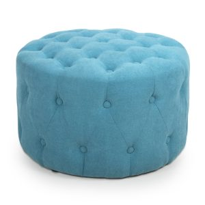 Verona Small Round Turquoise Blue Pouffe 1