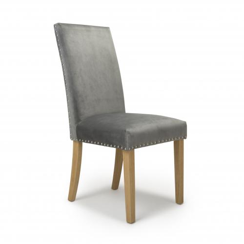 Randall Stud Detail Brushed Velvet Grey Dining Chair in Natural Legs