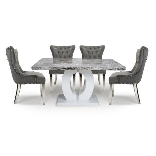 Neptune Medium & 4 Lionhead Grey with Silver Legs Dining Set
