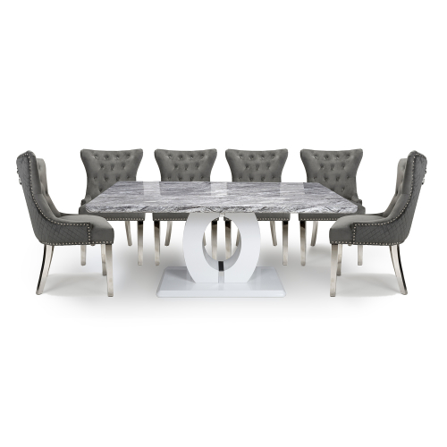 Neptune Large & 6 Lionhead Grey with Silver Legs Dining Set