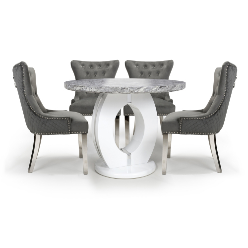 Neptune Round & 4 Lionhead Grey with Silver Legs Dining Set