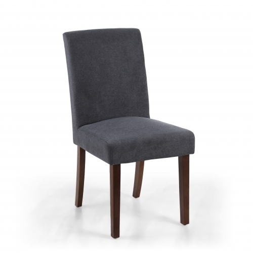 Morton Linen Effect Dark Grey Dining Chair in Walnut Legs