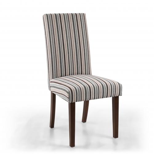 Ridley Chenille Stripe Duck Egg Dining Chair in Walnut Legs