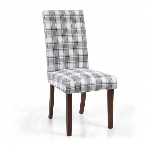 Ridley Herringbone Check Cappuccino Dining Chair in Walnut Legs